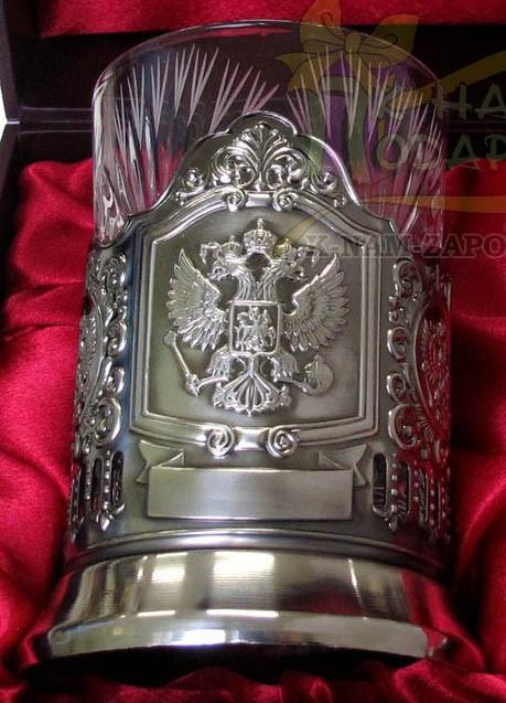 Чайный подарочный набор подстаканник черненый Герб РФ в футляре
